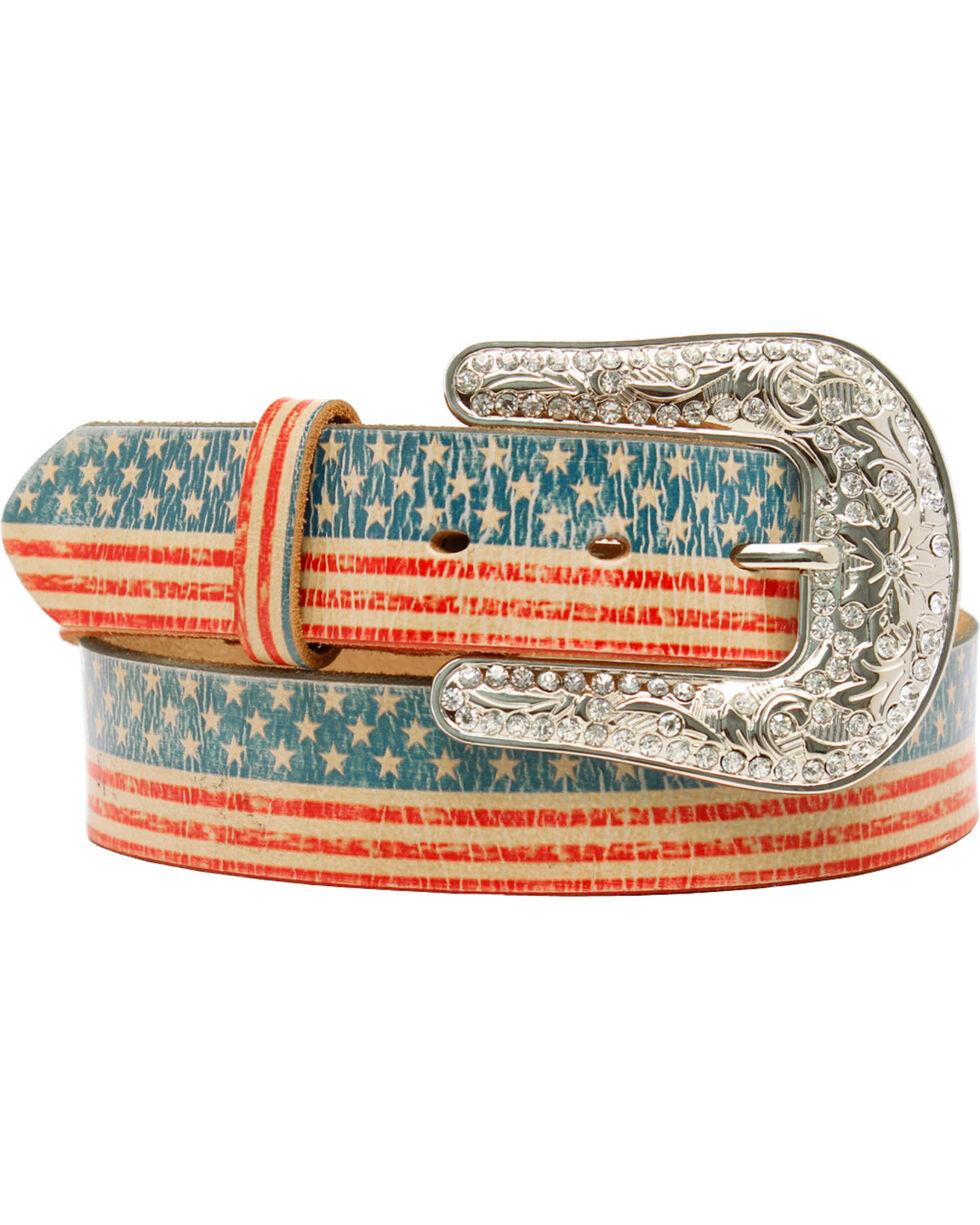Blazin Roxx American Flag Belt, Multi, hi-res