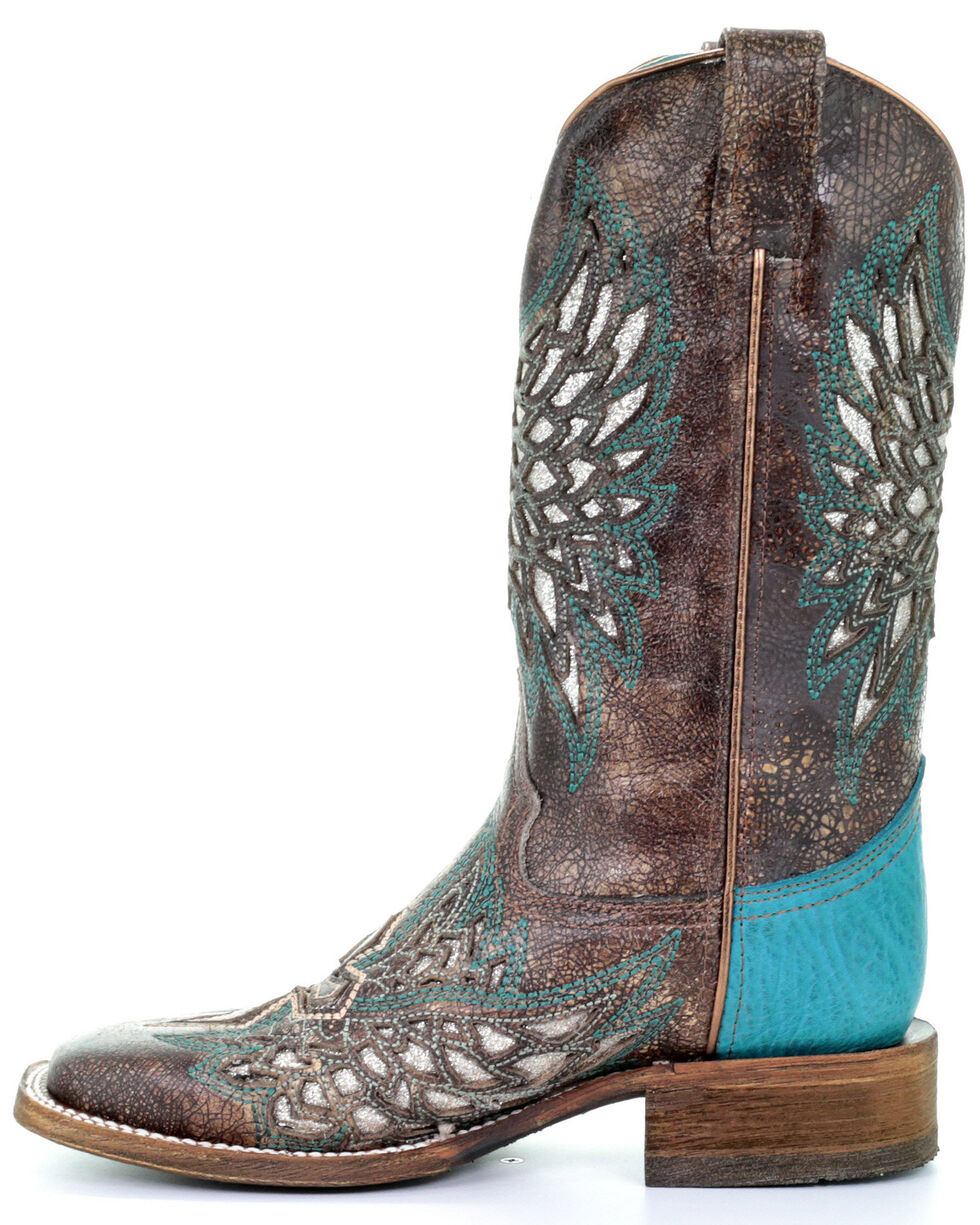 Corral Women's Cross & Wings Western Boots - Square Toe, Brown, hi-res