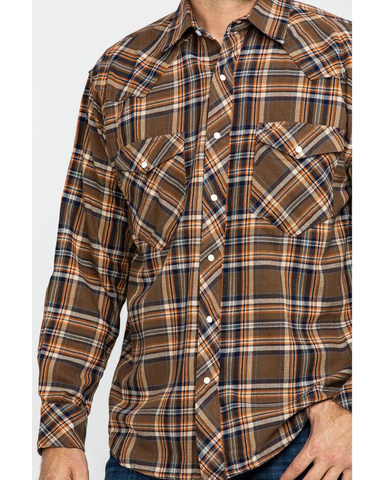 Resistol Men's Belton Windowpane Plaid Long Sleeve Western Shirt , Brown, hi-res