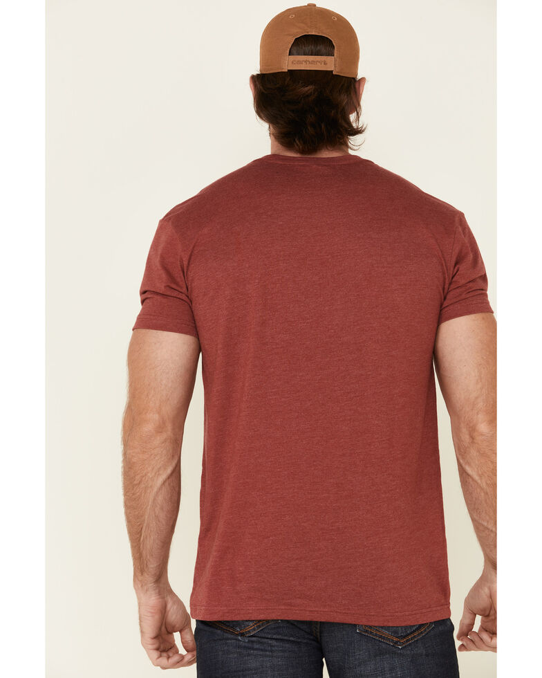 Lazy J Ranch Men's Red Logo Sunrise Graphic T-Shirt , Red, hi-res