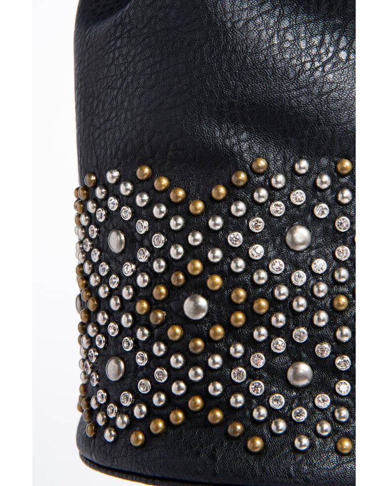 Shyanne Women's Studded Mini Drawstring Bucket Bag, Black, hi-res
