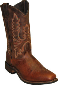 Abilene Brown Stockman Cowboy Boots - Square Toe , Brown, hi-res