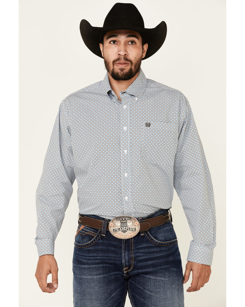 Cinch Men's White Dot Geo Print Long Sleeve Western Shirt , White, hi-res