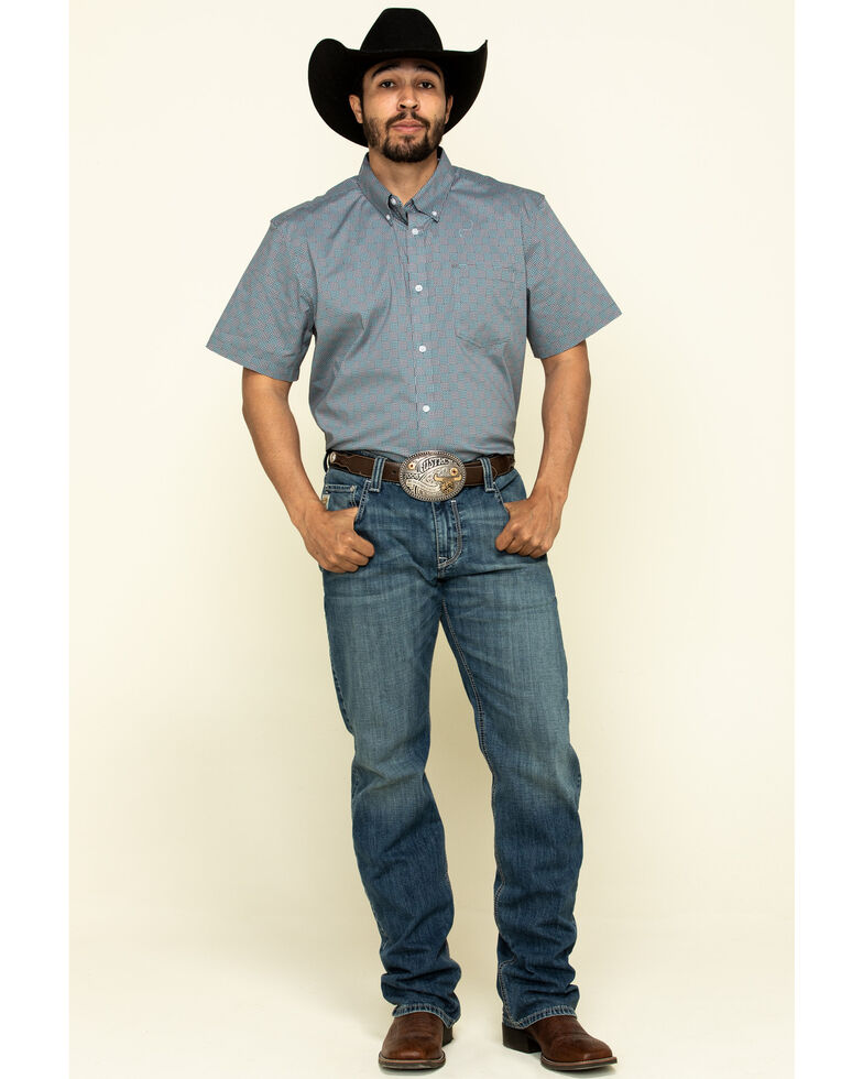 Cody James Core Men's Outlaw Check Geo Print Short Sleeve Western Shirt , Slate, hi-res