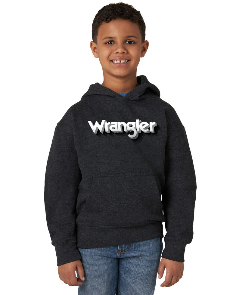 Wrangler Boys' Grey Kabel Logo Hooded Sweatshirt , Grey, hi-res