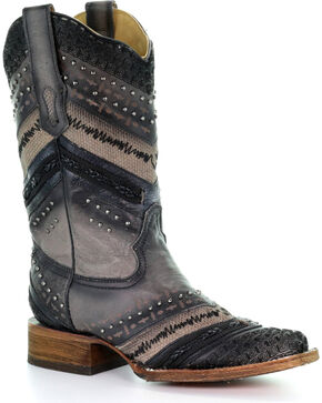 Corral Women's Grey Chevron Embroidered and Studs Cowgirl Boots - Square Toe , Grey, hi-res