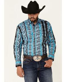 Wrangler Men's Blue Checotah Aztec Print Long Sleeve Snap Western Shirt - Tall, Blue, hi-res