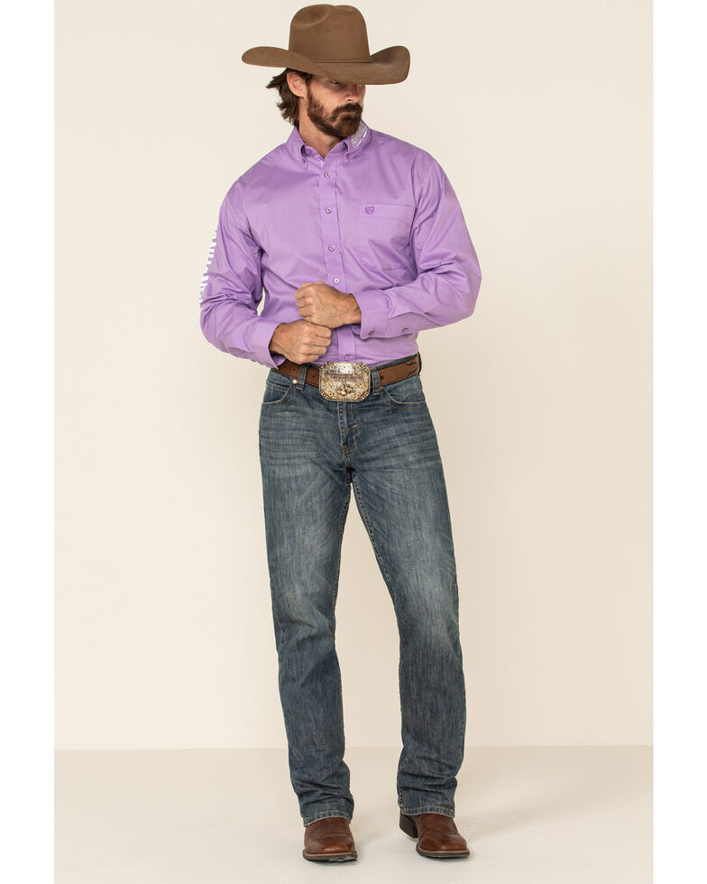 Panhandle Select Men's Purple Solid Embroidered Stretch Poplin Long Sleeve Western Shirt , Purple, hi-res