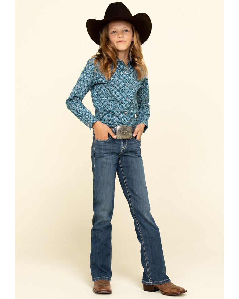 Ariat Girls' Stella Chill Blue Bootcut Jeans , Blue, hi-res