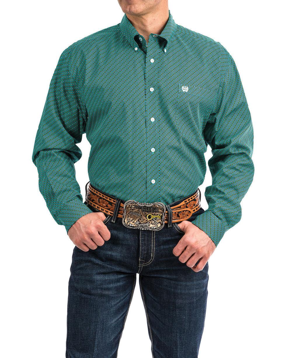 Cinch Men's Turquoise Geo Print Long Sleeve Western Shirt  , Turquoise, hi-res