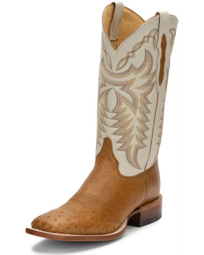 Justin Men's Pascoe Antique Saddle Western Boots - Wide Square Toe, Brown, hi-res