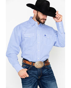 George Strait by Wrangler Men's Troubadour Small Geo Long Sleeve Western Shirt, Blue/white, hi-res