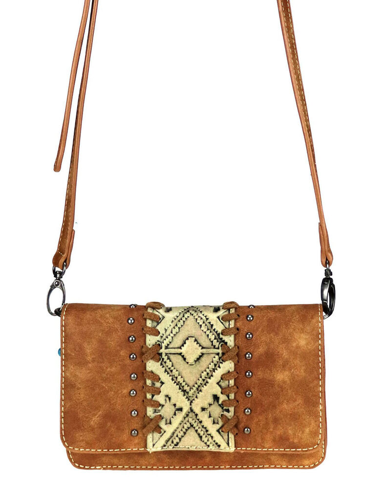 Montana West Women's Aria Embossed Belt Crossbody Bag, Tan, hi-res