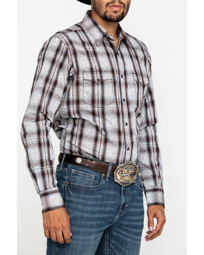 Wrangler Retro Men's Brown Paisley Print Long Sleeve Western Shirt , Brown, hi-res