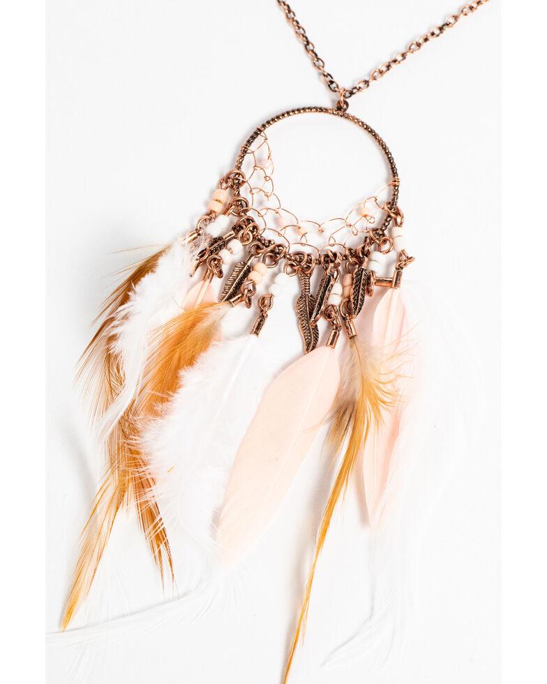 Shyanne Women's Wanderlust Flashy Feather Pendant Necklace Set, Tan/copper, hi-res
