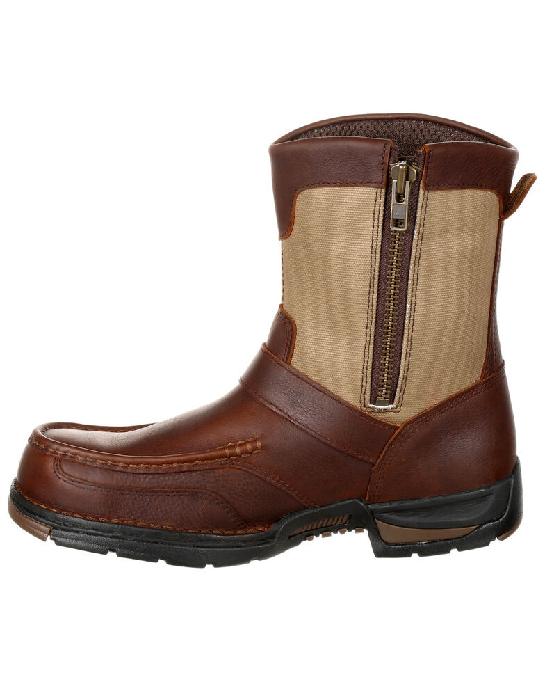 Georgia Boot Men's Athens Waterproof Side-Zip Work Boots - Moc Toe, Brown, hi-res