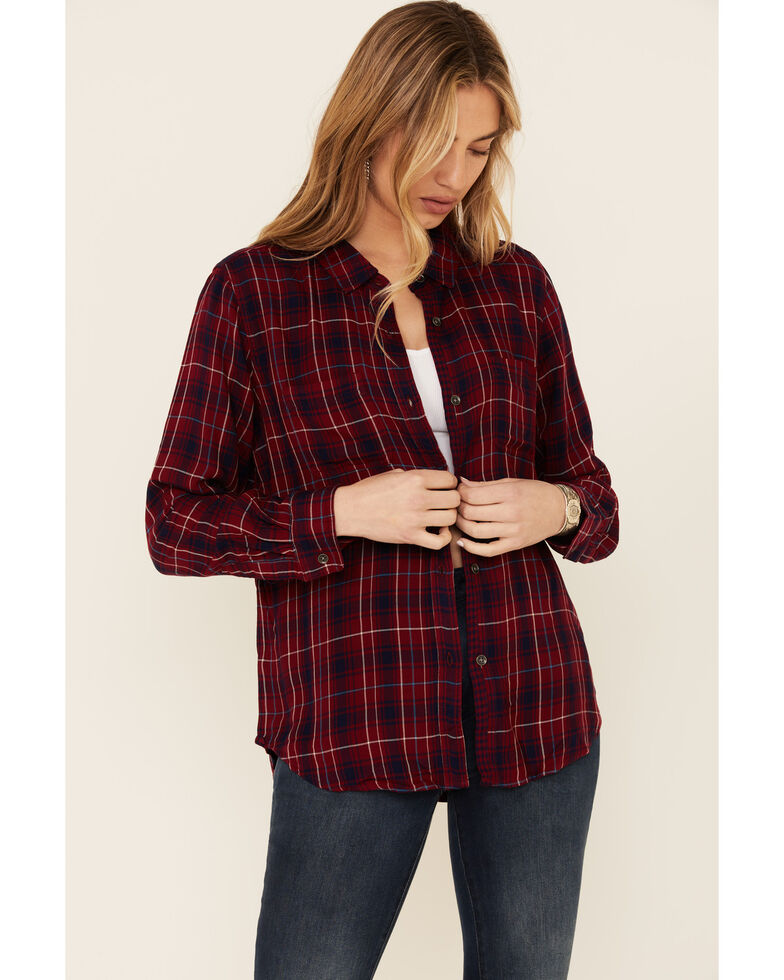 Flag & Anthem Women's Mica Classic Plaid Long Sleeve Button-Down Western Core Shirt , Red, hi-res
