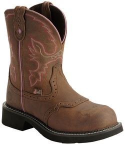 "Justin Gypsy Women's Wanette 8"" Brown EH Work Boots - Steel Toe, Aged Bark, hi-res"