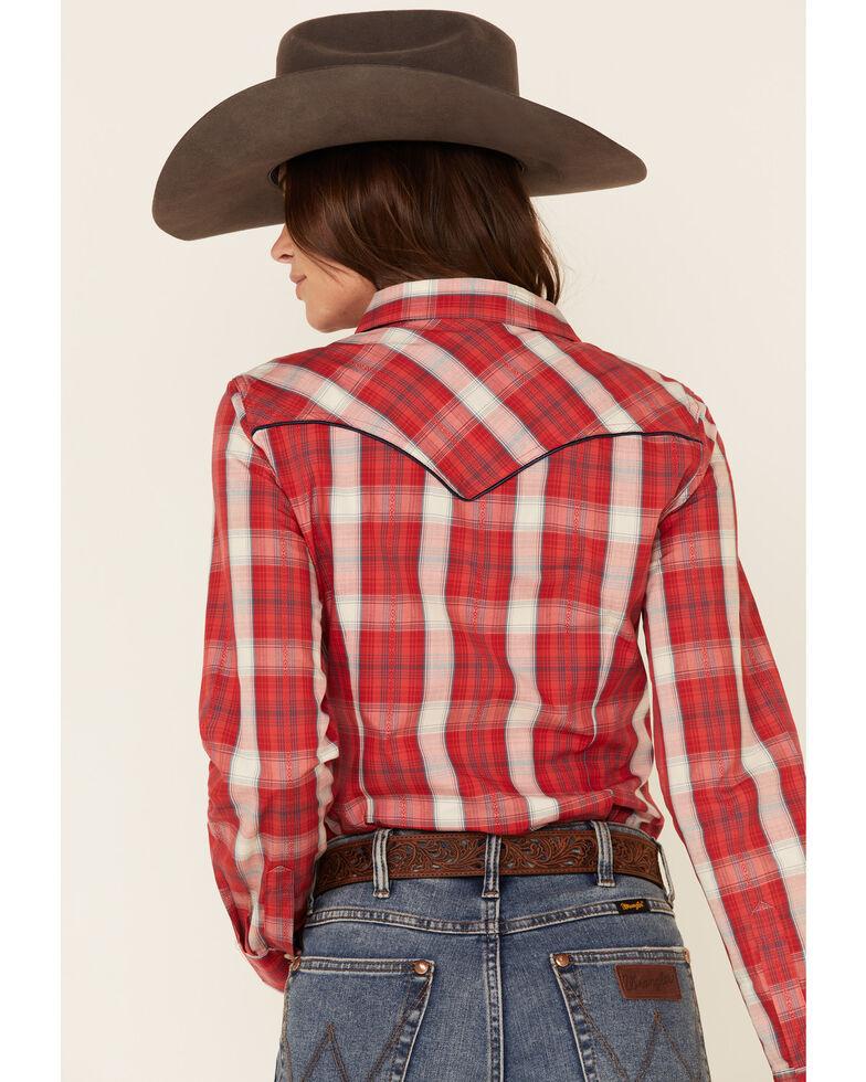 Wrangler Retro Women's Red Plaid Fancy Yoke Long Sleeve Western Shirt , Red, hi-res