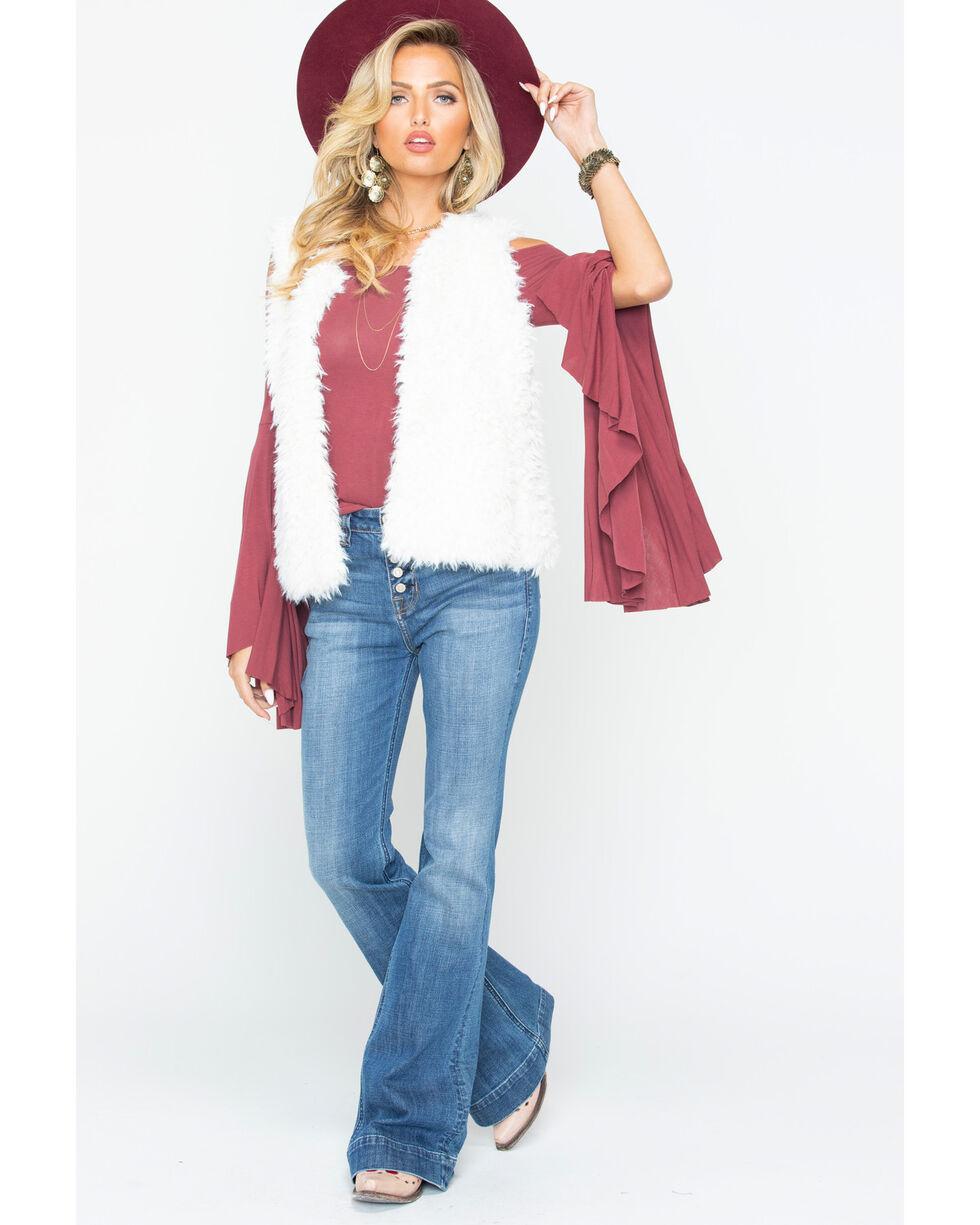 Ariat Women's Faux Sherpa Pocket Vest , Ivory, hi-res