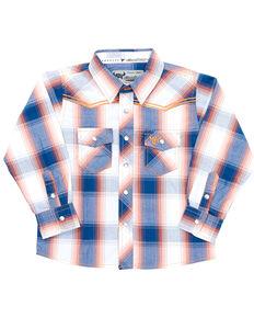 Cowboy Hardware Toddler Boys' Navy & Orange Plaid Long Sleeve Snap Western Shirt , Navy, hi-res