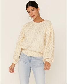 Molly Bracken Women's Leaf Print Sweater, Off White, hi-res
