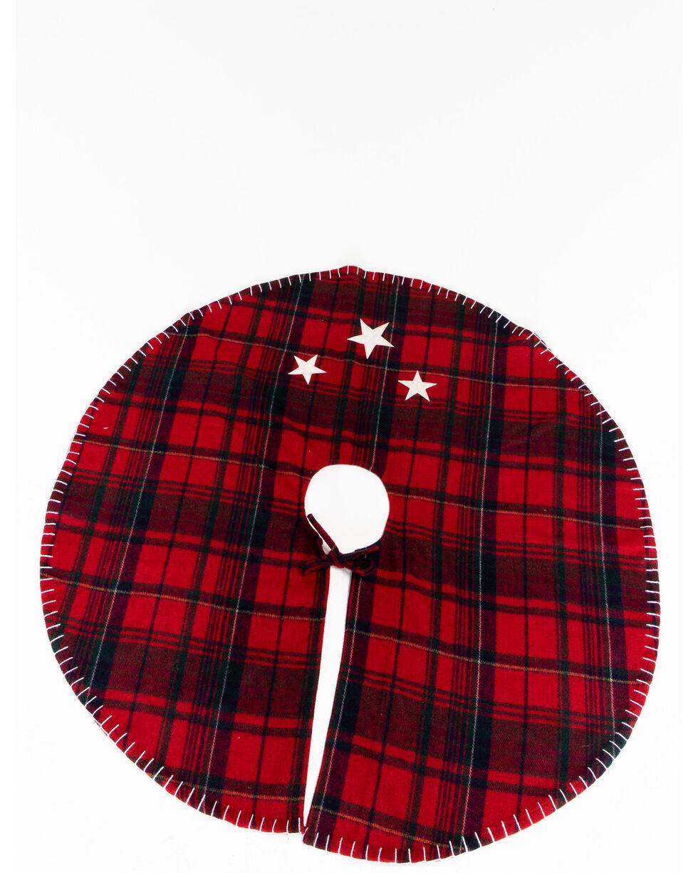 Plaid Metallic Cowhide Tree Skirt, Multi, hi-res