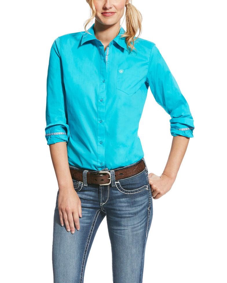 Ariat Women's Kirby Bluebird Stretch Button Down Long Sleeve Shirt , Turquoise, hi-res