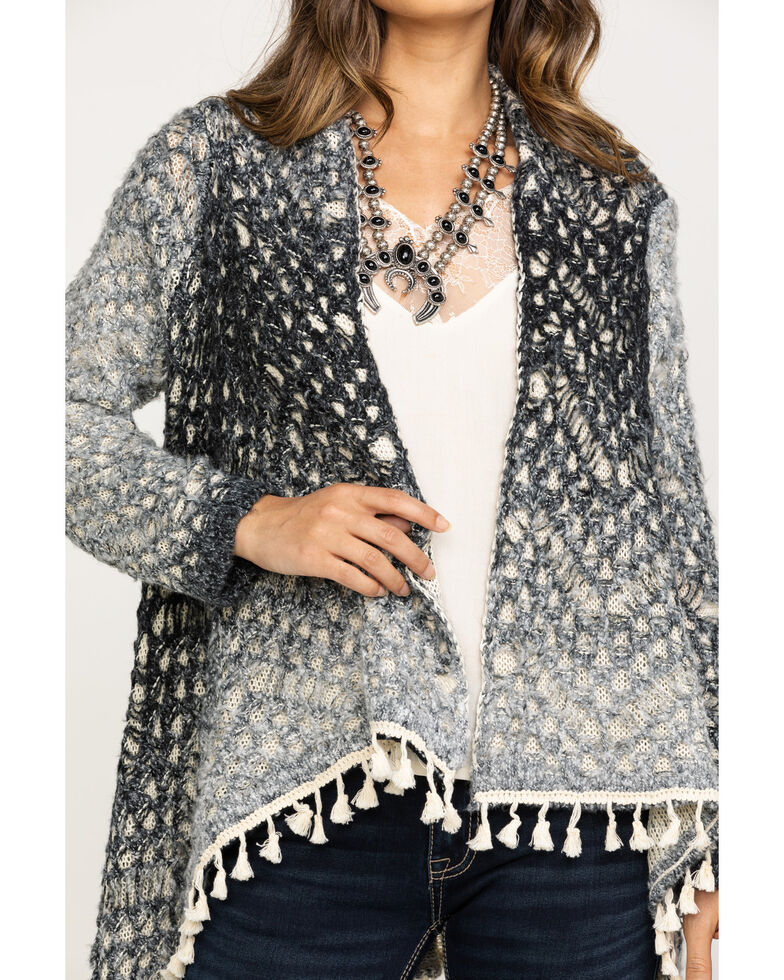 Red Label by Panhandle Women's Grey Ombre Drape Cardigan, Charcoal, hi-res