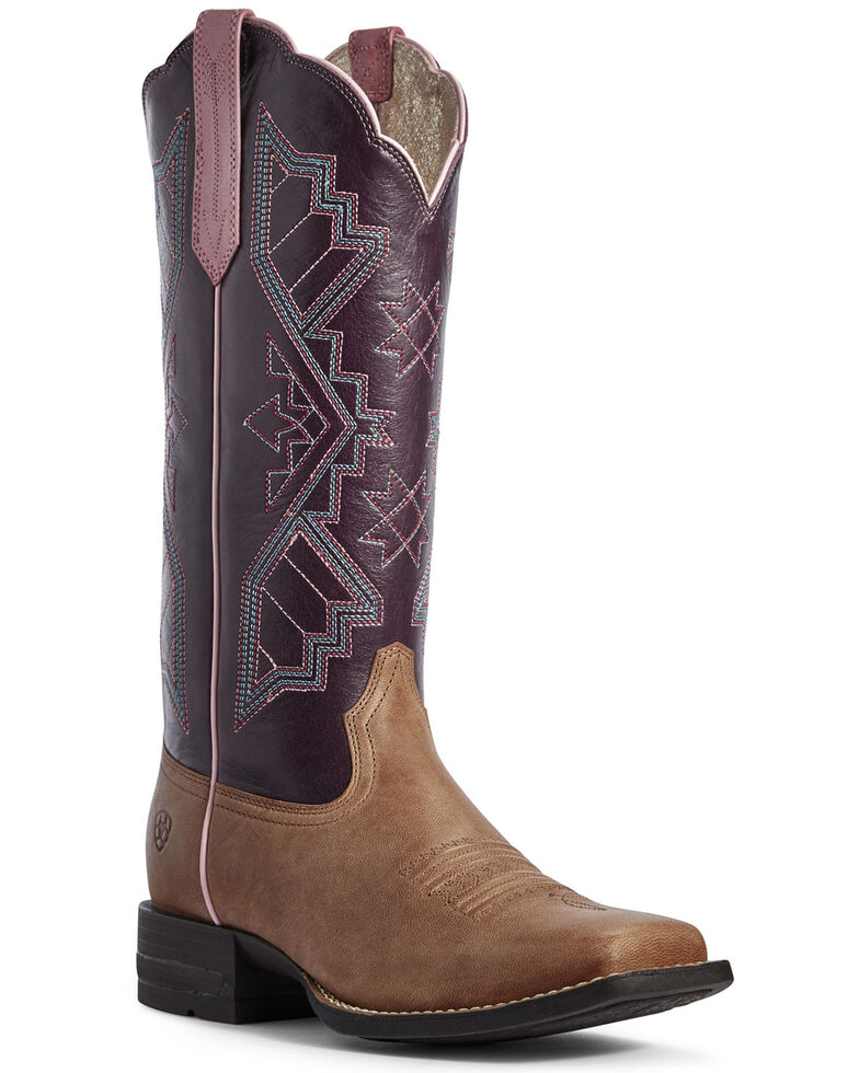 Ariat Women's Jackpot Sandstone Western Boots - Wide Square Toe, Tan, hi-res
