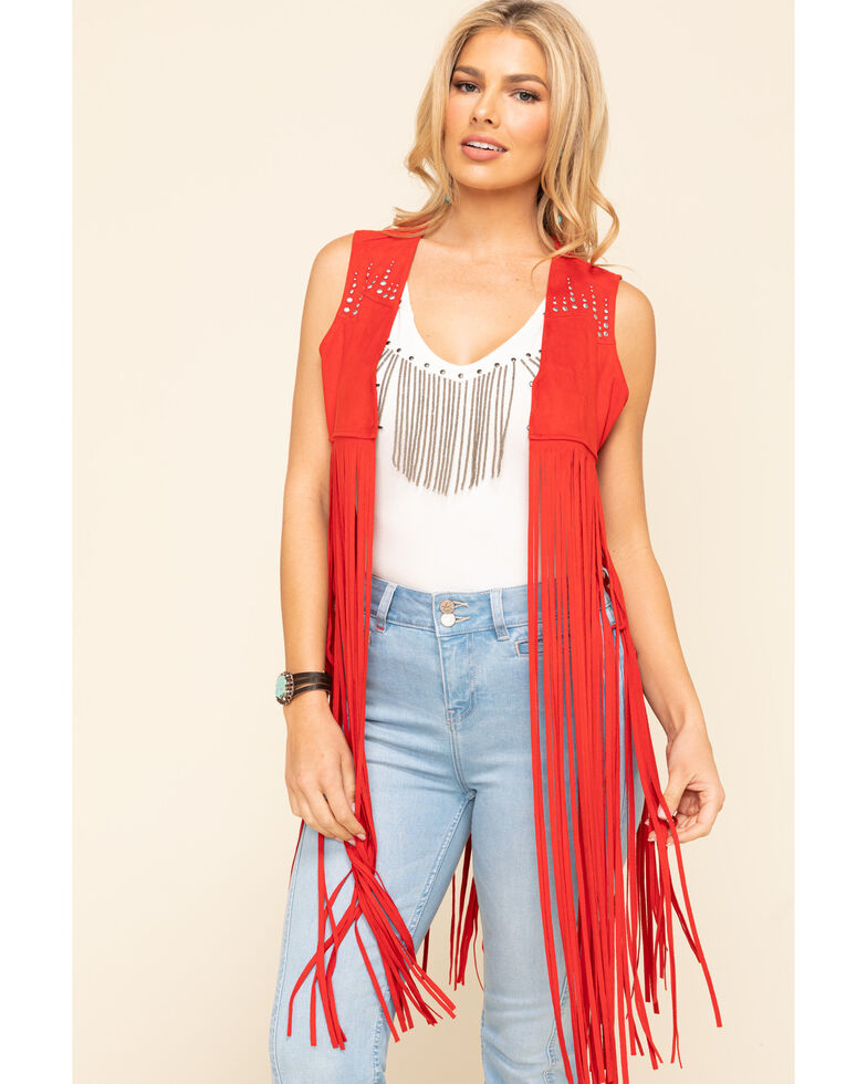 Idyllwind Women's Red Sway to The Music Studded Fringe Vest, Red, hi-res