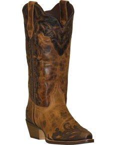 Rawhide by Abilene Boots Women's Two-Tone Wingtip Cowgirl Boots - Snip Toe, Tan, hi-res