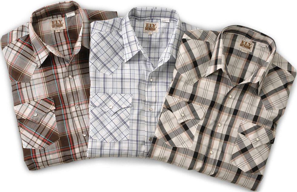 Ely Cattleman Men''s Assorted Plaid or Stripe Short Sleeve Western Shirt , Plaid, hi-res
