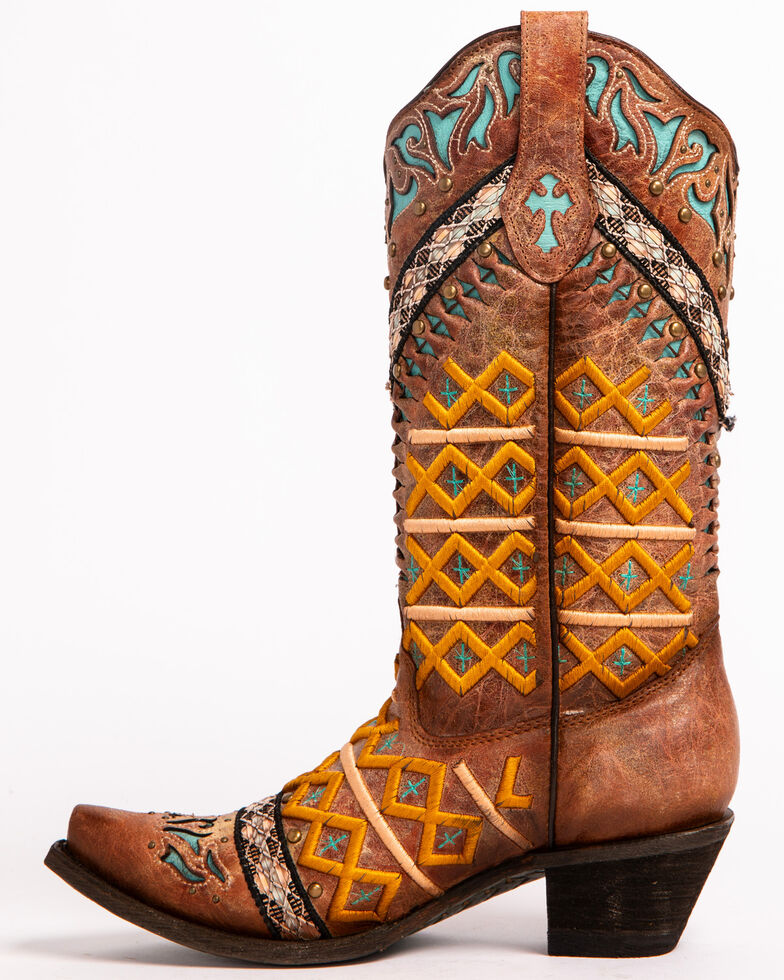 Corral Women's Cognac Embroidered & Studded Cowgirl Boots - Snip Toe, Cognac, hi-res