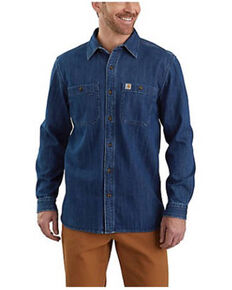 Carhartt Men's Loose Fit Heavyweight Long Sleeve Button-Down Denim Work Shirt , No Color, hi-res