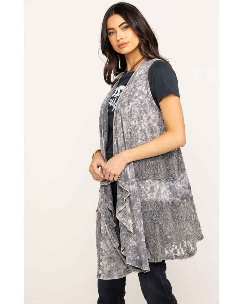 Rock & Roll Cowgirl Women's Cascading Lace Vest , Taupe, hi-res