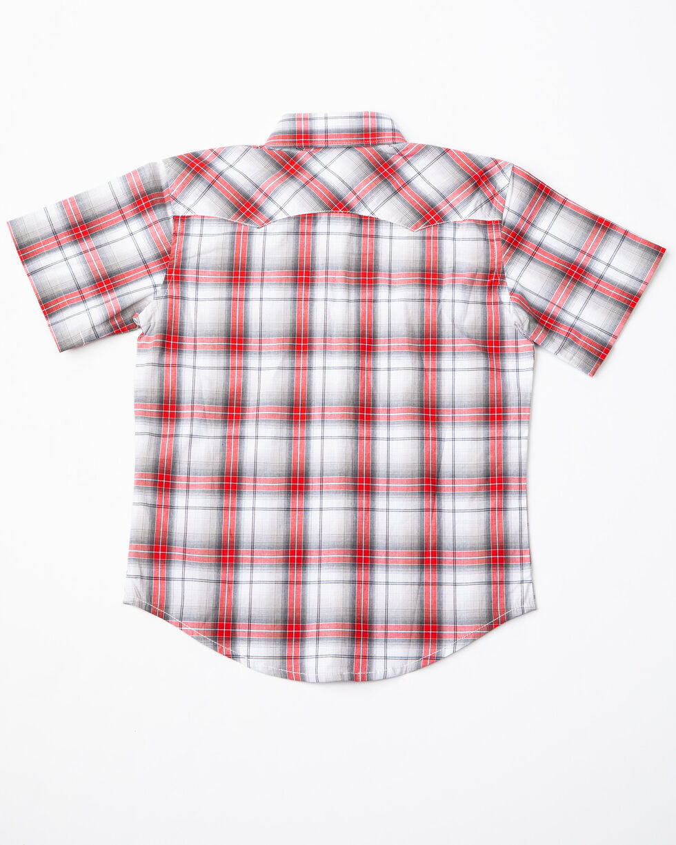 Wrangler Retro Boys' Black & Red Plaid Short Sleeve Western Shirt, Black/red, hi-res