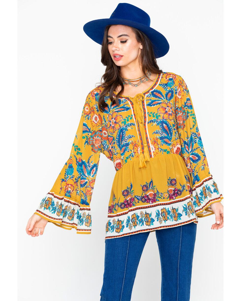 Flying Tomato Women's Floral Print Long Sleeve Shirt - Plus, Dark Yellow, hi-res
