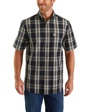 Carhartt Men's Black Essential Plaid Short Sleeve Work Shirt - Tall , Black, hi-res