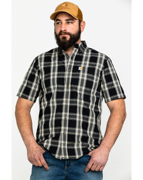 Carhartt Men's Black Essential Plaid Short Sleeve Work Shirt , Black, hi-res