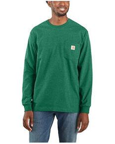 Carhartt Men's Solid Green Long Sleeve Work Pocket T-Shirt , Green, hi-res