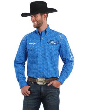 Wrangler Men's Ford Logo Long Sleeve Western Shirt, Black/blue, hi-res