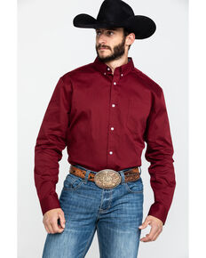 Cody James Core Solid Maroon Performance Twill Long Sleeve Button-Down Western Shirt , Burgundy, hi-res