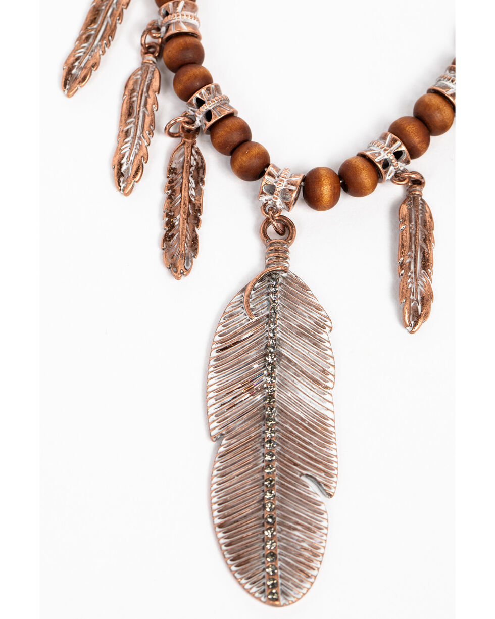 Shyanne Women's Wanderlust Feather Wood Beaded Necklace, Tan/copper, hi-res