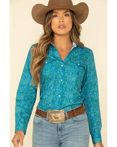 Amarillo Women's Blue Print Long Sleeve Western Shirt, Turquoise, hi-res