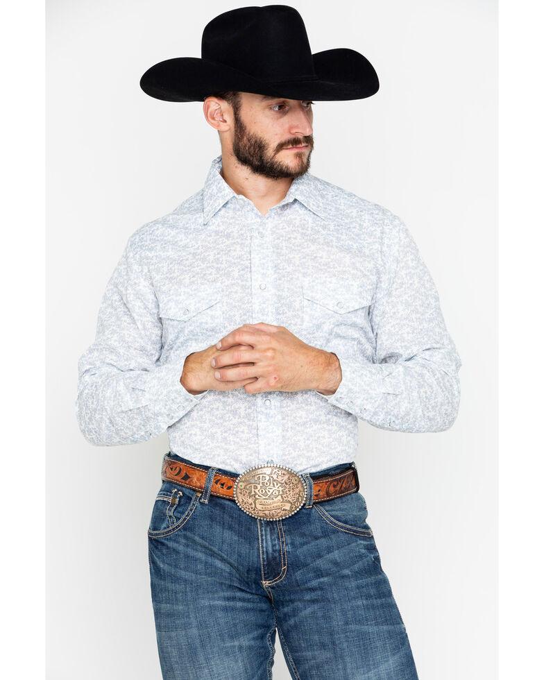 Roper Men's Floral Print Snap Long Sleeve Western Shirt , Blue, hi-res