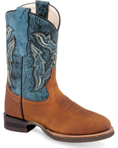 Old West Boys' Tan/Blue Leather Cowboy Boots - Round Toe, Chocolate, hi-res
