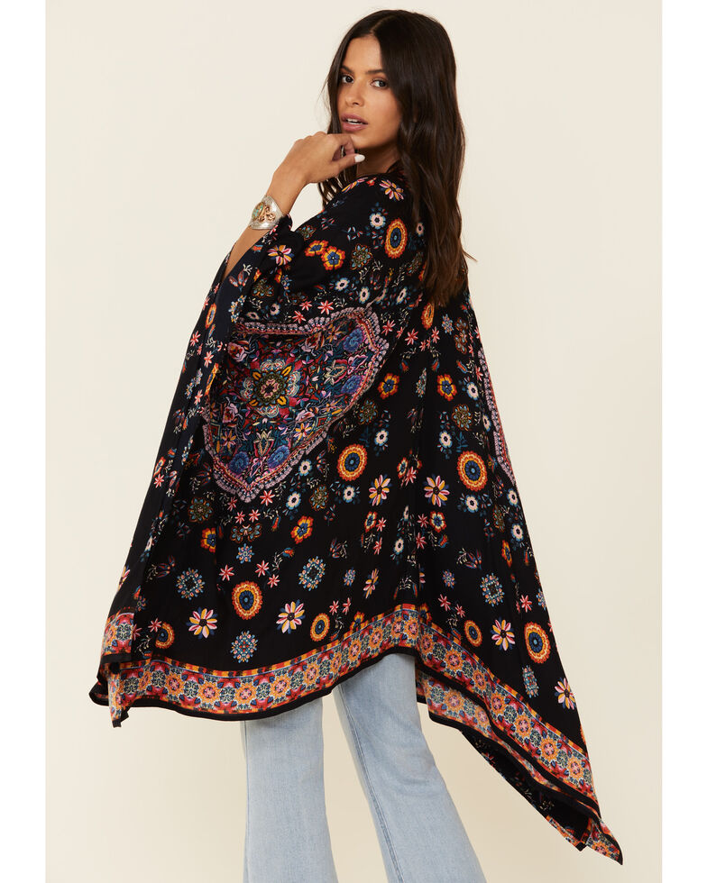 Bila Women's Christine Black Floral Print Open Front Kimono , Black, hi-res
