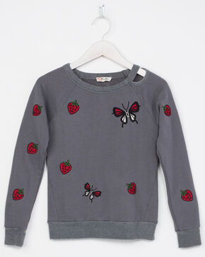 Miss Me Girls' Strawberries And Butterfly Cut-Out Sweatshirt, Grey, hi-res