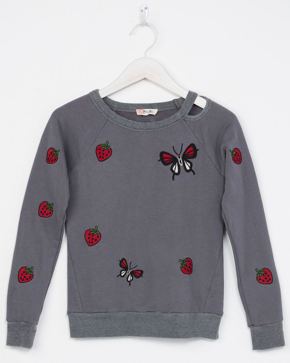 Miss Me Girls' Strawberries And Butterfly Cut-Out Sweatshirt, , hi-res